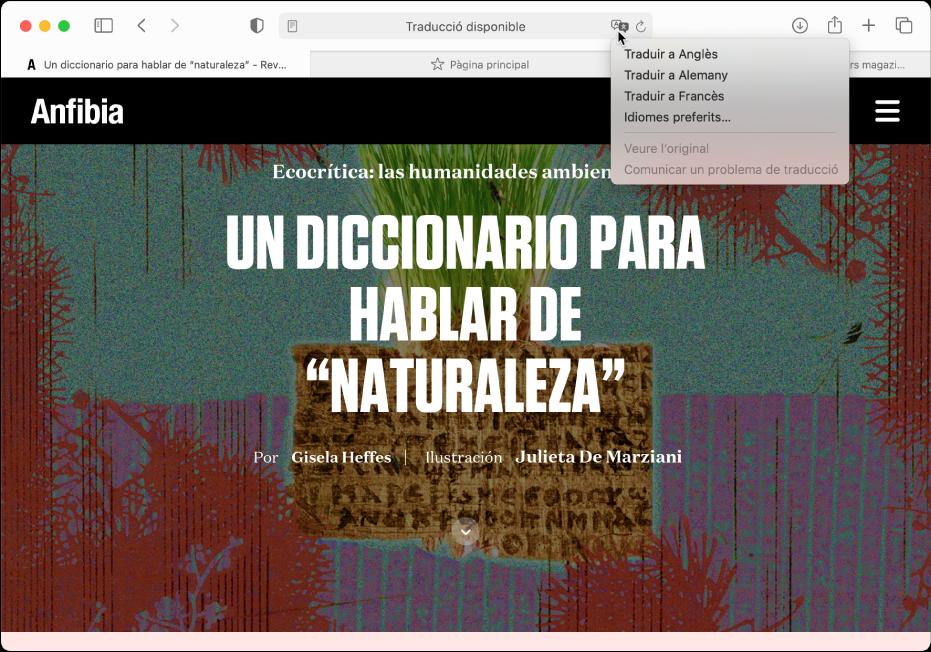 Una pàgina web en espanyol. El camp de cerca intel·ligent inclou un botó Traduir i mostra una llista dels idiomes disponibles.