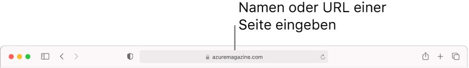 Das intelligente Suchfeld von Safari, in dem du den Namen oder die URL einer Seite eingeben kannst.