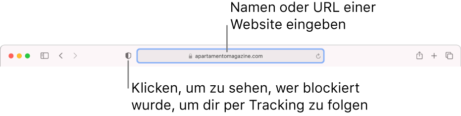 """Die Symbolleiste von Safari mit der Taste """"Datenschutzbericht"""" und einer Website im intelligenten Suchfeld."""