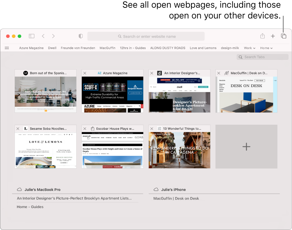 """The toolbar, showing the """"Show tab overview"""" button."""
