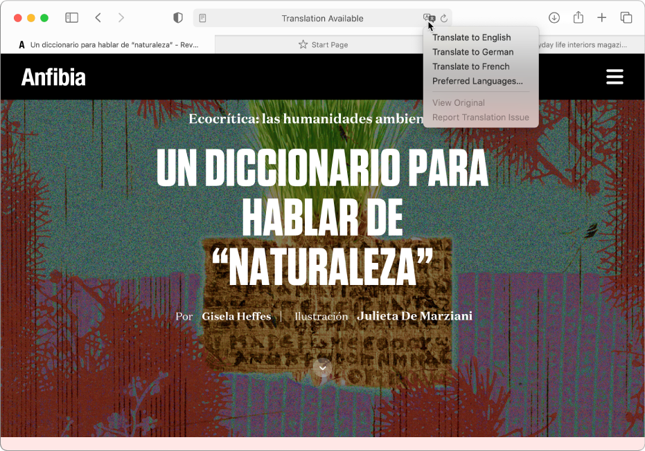 A Spanish-language web page. The Smart Search field includes a Translate button and shows a list of available languages.