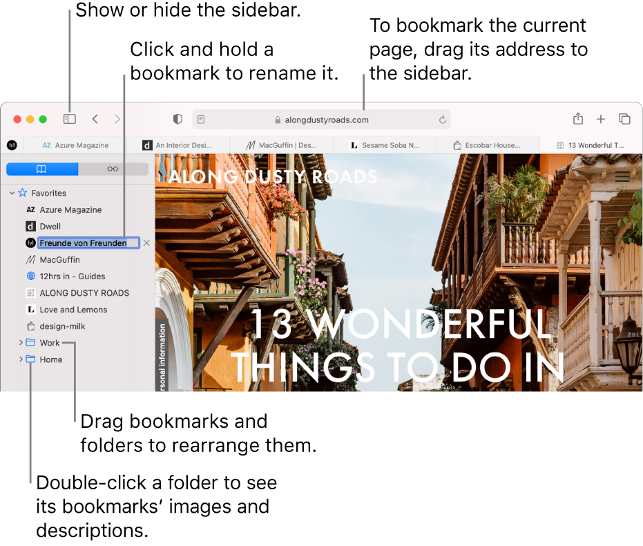 A Safari window showing bookmarks in the sidebar; one bookmark is selected for editing.