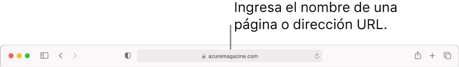 El campo de búsqueda inteligente de Safari, en donde puedes ingresar el nombre de una página o un URL.