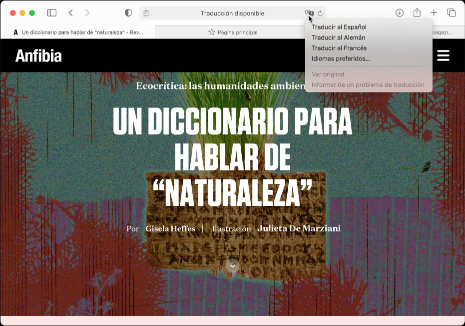 Una página web en español. El campo de búsqueda inteligente incluye un botón Traducir y muestra una lista de idiomas disponibles.
