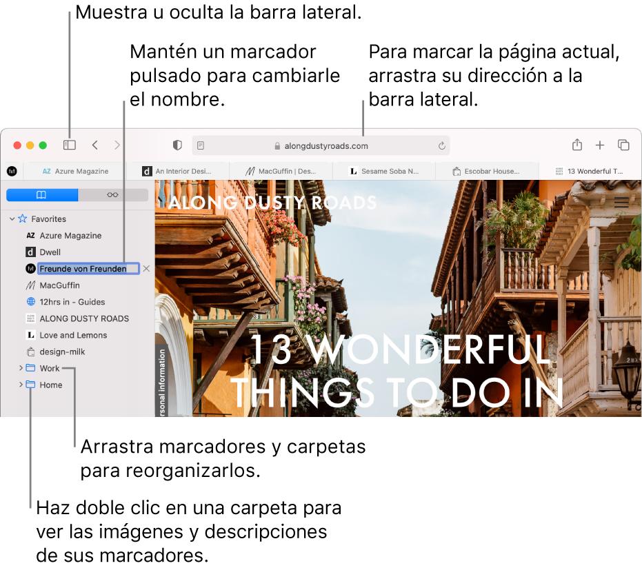Una ventana de Safari con los marcadores en la barra lateral, con uno de ellos seleccionado para modificarlo.