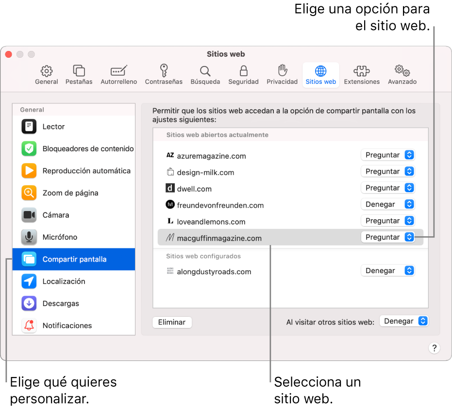 """El panel """"Sitios web"""" del panel Preferencias de Safari, donde puedes personalizar la navegación por sitios web concretos."""