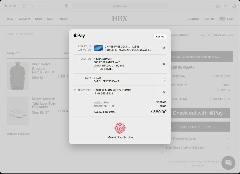Suosittu verkkokauppasivusto, jolla voidaan käyttää ApplePayta, ja ostoksesi tiedot, kuten laskutettu luottokortti, toimitus- ja myymälätiedot sekä ostohinta.