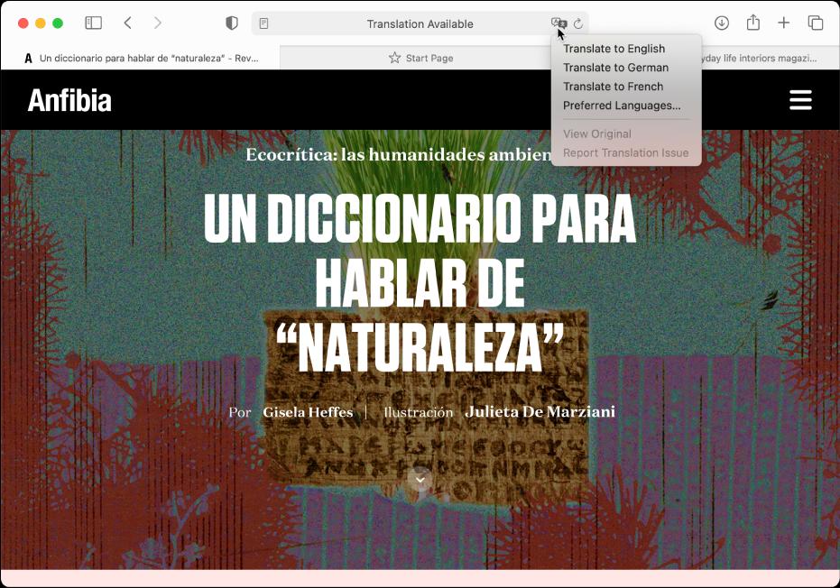 Une page web en espagnol. Le champ de recherche intelligente inclut un bouton de traduction et affiche une liste de langues disponibles.