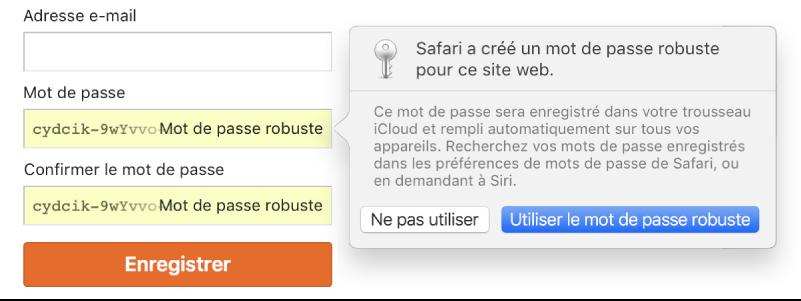 Page de connexion à un compte, avec un mot de passe créé automatiquement et les options permettant de le refuser ou de l'utiliser.