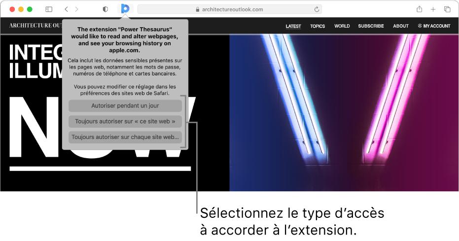 Une pageweb affichant une icône d'extension dans la barre d'outils de Safari ainsi que les options de restriction des accès de l'extension.