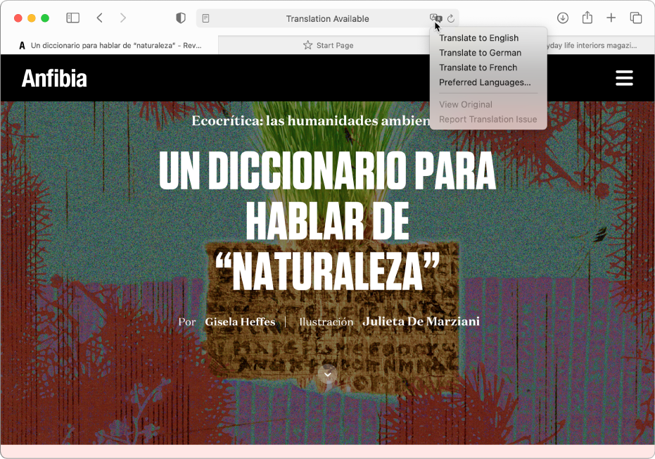 Spanyol nyelvű weboldal. Az intelligens keresési mező a Fordítás gombbal és az elérhető nyelvek listájával.