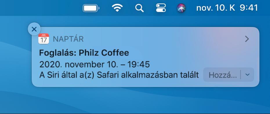 Siri-javaslat: esemény hozzáadása a Safariból a Naptárba.