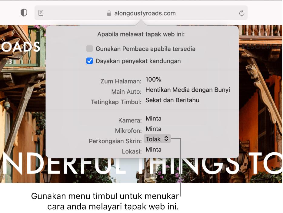 Dialog yang muncul di bawah medan Carian Pintar apabila anda memilih Safari > Seting untuk Tapak Web Ini. Dialog mengandungi pilihan untuk menyesuaikan cara anda melayari tapak web semasa, termasuk menggunakan paparan Pembaca, mendayakan penyekat kandungan dan banyak lagi.