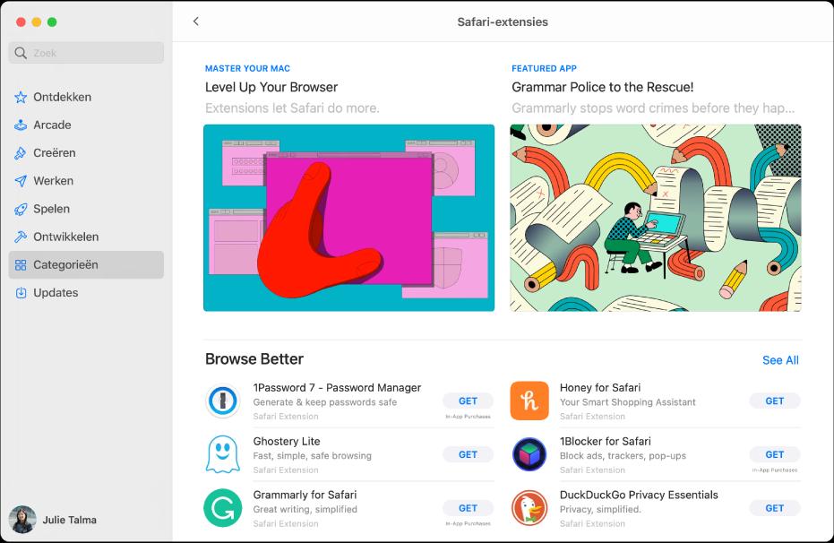 De beginpagina van de MacAppStore. De navigatiekolom aan de linkerkant bevat links naar andere gedeelten van de Store, zoals 'Arcade' en 'Creëren'. 'Categorieën' is geselecteerd. Aan de rechterkant staat de categorie 'Safari-extensies'.