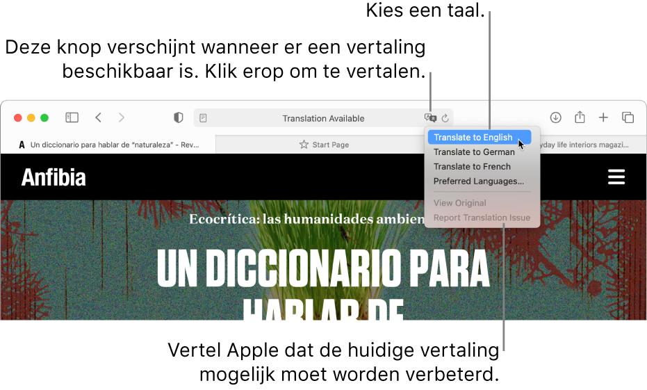 Een Spaanstalige webpagina. Bij het slimme zoekveld zie je een vertaalknop en een lijst met beschikbare talen.