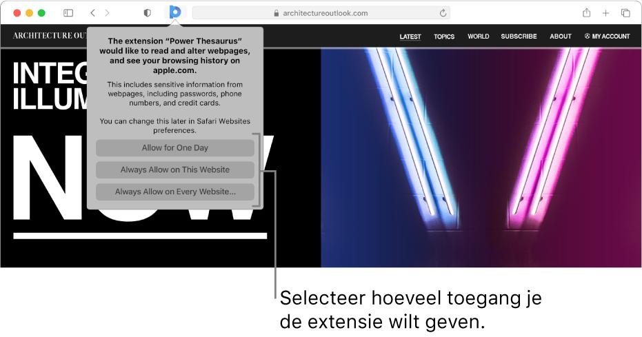 Een webpagina met het symbool van een extensie in de Safari-knoppenbalk en de opties waarmee je de toegang van de extensie beperkt.