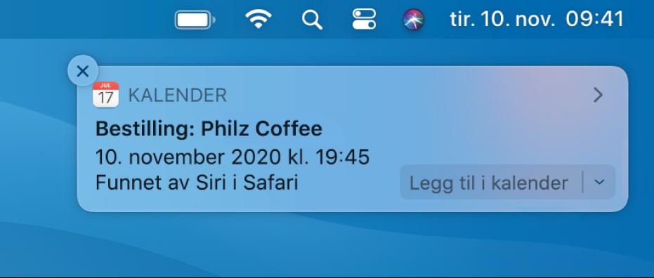 Et Siri-forslag om å legge til en hendelse fra Safari i Kalender.