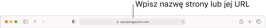 Inteligentne pole wyszukiwania znajdujące się na środku paska narzędzi Safari.