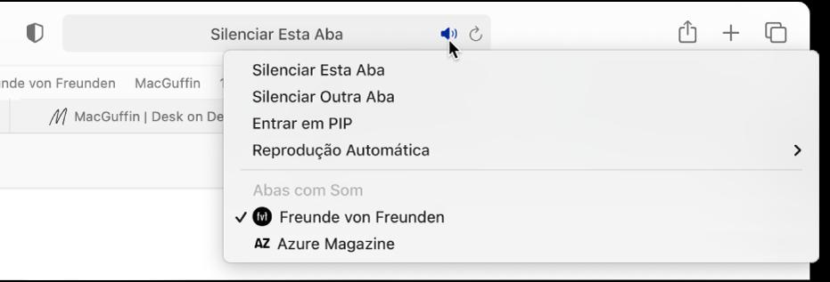 Uma lista de sites web que estão reproduzindo áudio.