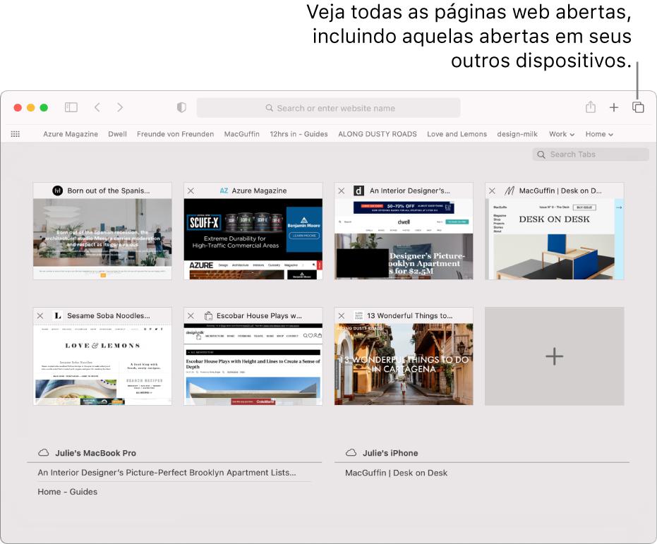 """A barra de ferramentas mostrando o botão """"Mostrar visão geral de abas""""."""