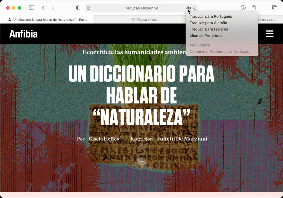 Uma página web no idioma espanhol. O campo de Busca Inteligente inclui um botão Traduzir e mostra uma lista de idiomas disponíveis.