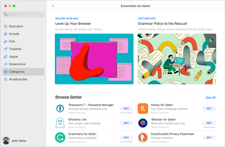 A página principal da Mac App Store. A barra lateral à esquerda inclui links para áreas diferentes da loja, como Arcade e Criar, e Categorias está selecionado. À direita, a categoria extensões do Safari.