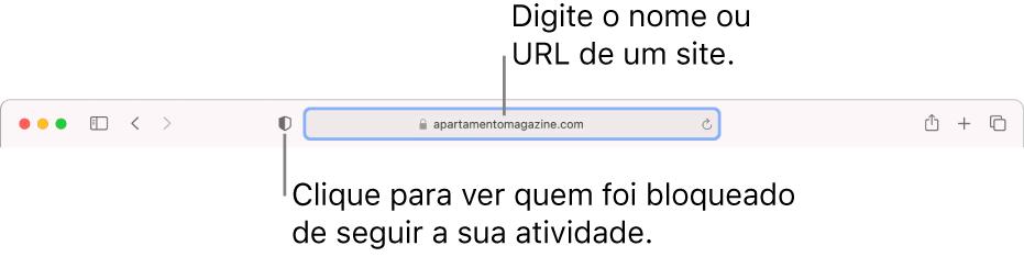 """A barra de ferramentas do Safari a mostrar o botão """"Relatório de privacidade"""" e um site no campo de pesquisa inteligente."""