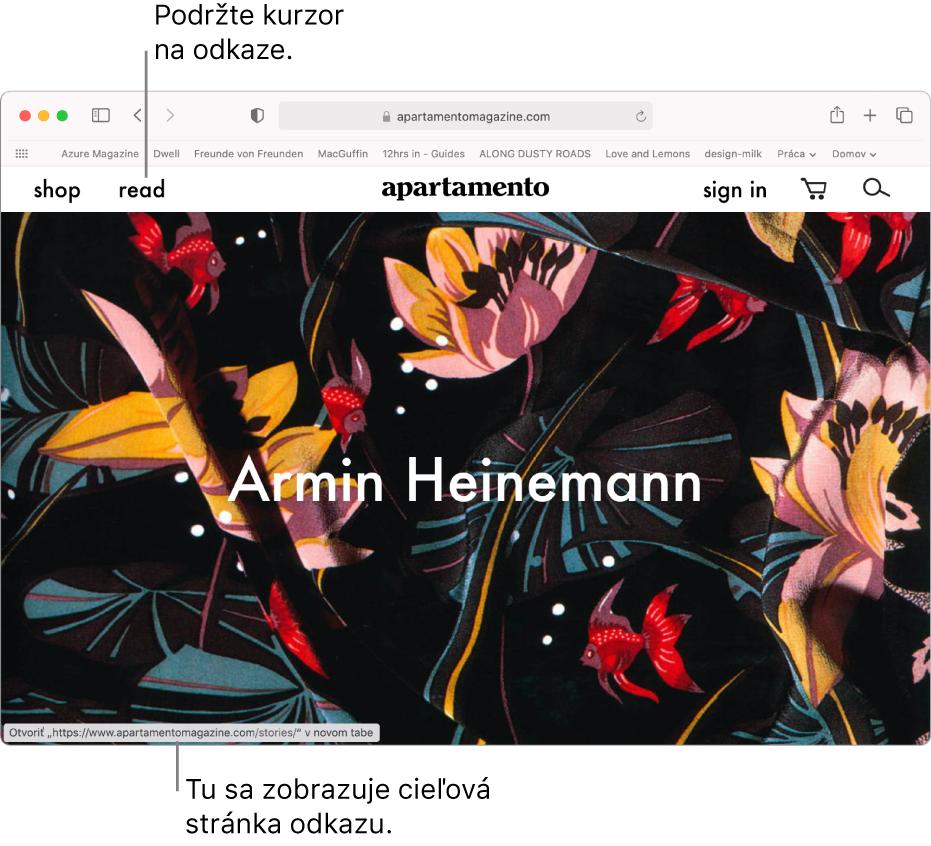 Kurzor nad odkazom na webovú stránku sURL adresou zobrazenou vstavovom riadku dolnej časti okna.