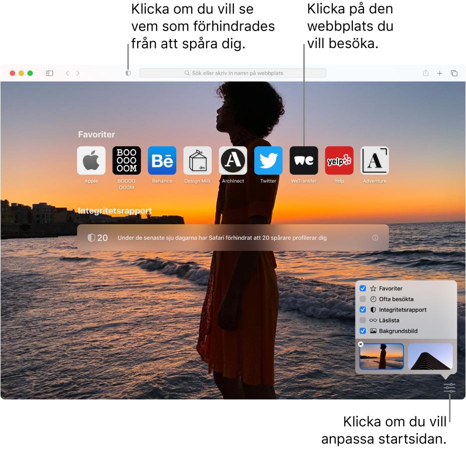 Safaris startsida som visar favoritwebbplatser, en sammanfattad integritetsrapport, läslisteartiklar och startsidealternativ.