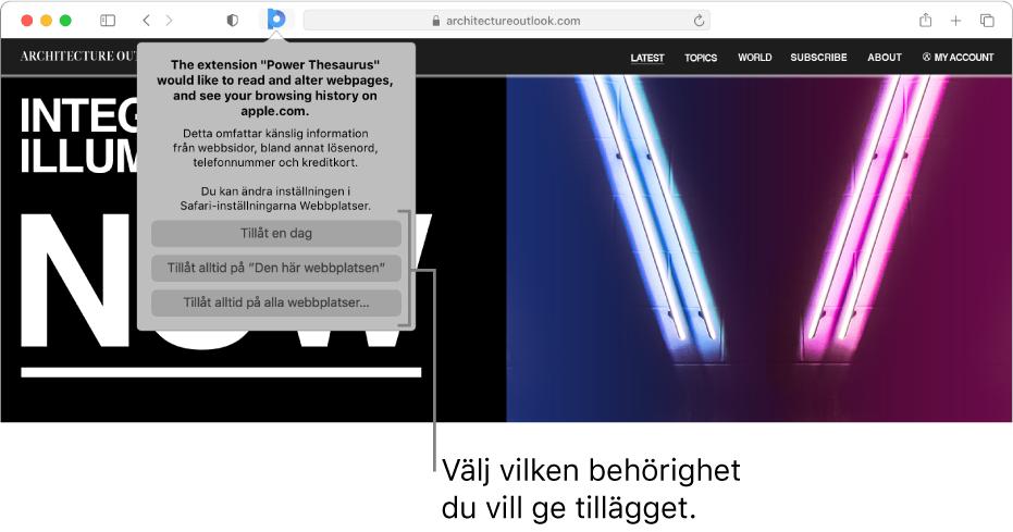 En webbsida med en tilläggssymbol i verktygsfältet i Safari och alternativen för att begränsa tilläggets åtkomst.