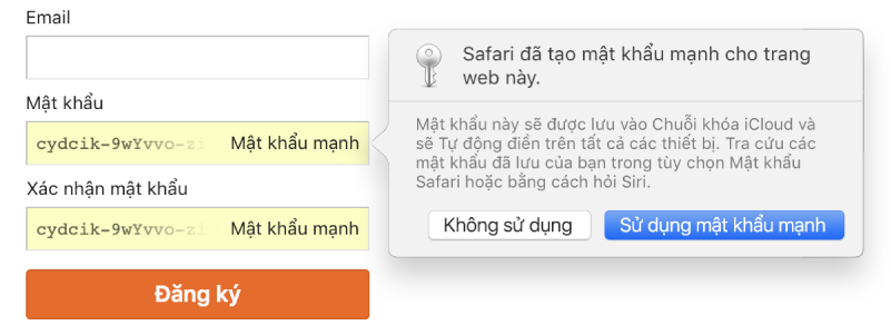 Trang đăng ký tài khoản, đang hiển thị mật khẩu được tạo tự động và lựa chọn từ chối hoặc sử dụng mật khẩu đó.