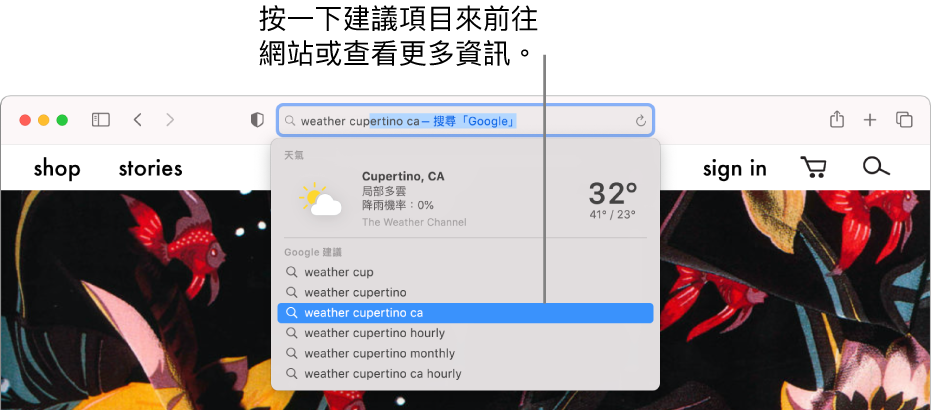 在「智慧型搜尋」欄位中輸入的搜尋字詞「天氣 cupertino」,以及「Safari 建議」結果。