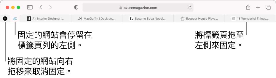 位於 Safari 標籤頁列中的固定的網站。
