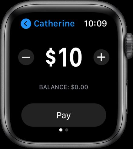 Екран за съобщения, показващ, че се подготвя плащане с Apple Cash (Apple пари в брой). В горния край е сумата в долари с бутони плюс и минус от всяка страна. Отдолу е текущият баланс, а бутонът Pay (Плащане) е в долния край.
