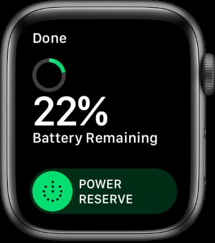 Екранът за съхранение на енергия, показващ бутона Done (Готово) горе вляво, оставащия процент на батерията и плъзгача за съхранение на енергия.
