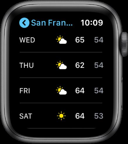 Приложението Weather (Прогноза за времето) с показана седмична прогноза.