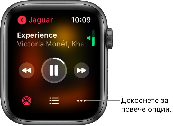 Екранът Now Playing (Сега се изпълнява) в приложението Music (Музика). Горе вляво е името на албума. Заглавието на песента и изпълнителят се появяват горе, в средата са бутоните за управление, а долу са бутоните AirPlay, списъкът с песни и Options (Опции).