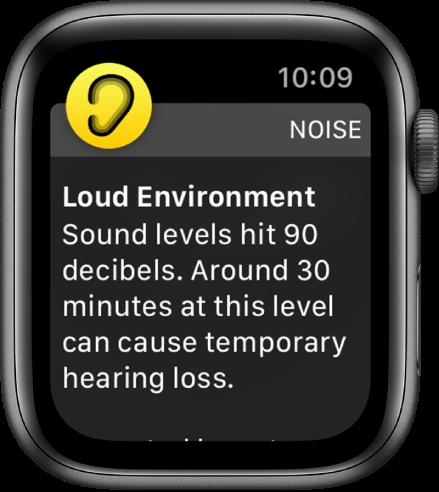 Известие на Noise (Шум) за ниво на звука от 90 децибела. Отдолу се появява предупреждение относно дългосрочното излагане на такова ниво на шума.