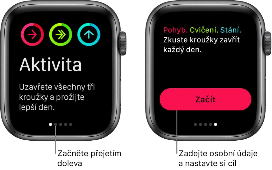 Dvě obrazovky: Úvodní obrazovka aplikace Aktivita aobrazovka stlačítkem Začít