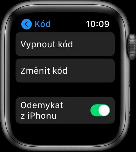 """Nastavení přístupového kódu na AppleWatch stlačítkem """"Vypnout kód"""" nahoře, tlačítkem """"Změnit kód"""" pod ním apřepínačem """"Odemykat ziPhonu"""" dole"""