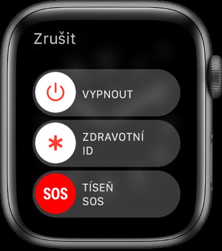 Obrazovka hodinek AppleWatch se třemi jezdci: Vypnout, Zdravotní ID aTíseň SOS.