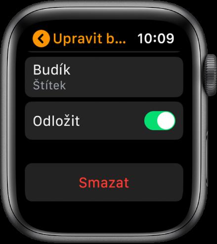Obrazovka Upravit budík stlačítkem Smazat dole.