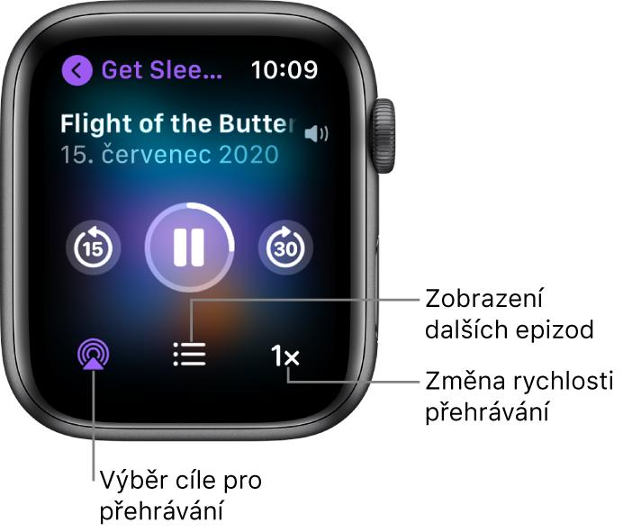 Obrazovka Právě hraje vaplikaci Podcasty snázvem pořadu aepizody, sdatem astlačítky O15 sekund zpět, Pozastavit, O30 sekund vpřed, AirPlay, Epizody aRychlost přehrávání