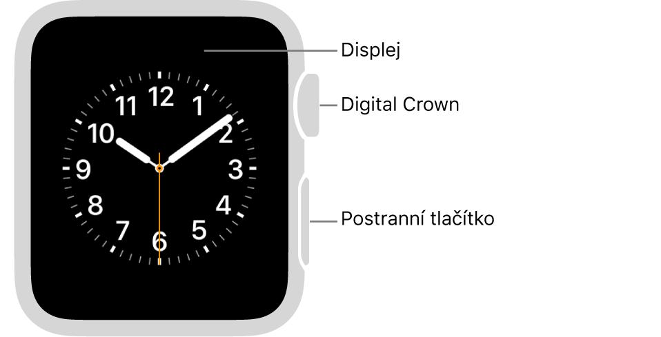Přední strana hodinek AppleWatch Series3: na displeji je zobrazen ciferník ana boku se nachází korunka Digital Crown apostranní tlačítko.