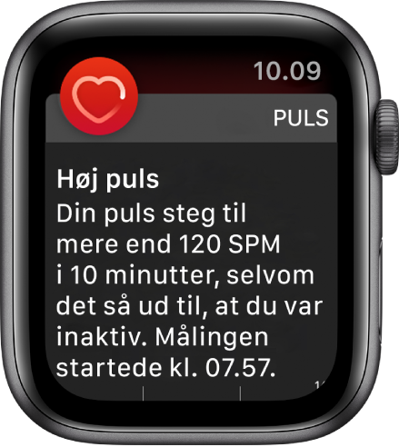 Skærmen Høj puls, der viser en notifikation om, at din puls steg til mere end 120 spm, mens du har været passiv i 10 minutter.