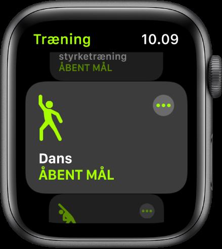 Skærmen Træning med dansetræning fremhævet.