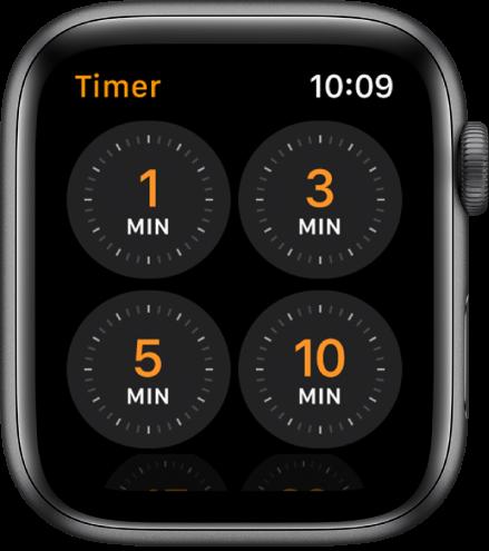 """Die App """"Timer"""", auf dem schnell erstellte Timer für 1, 3, 5 oder 10 Minuten angezeigt werden."""