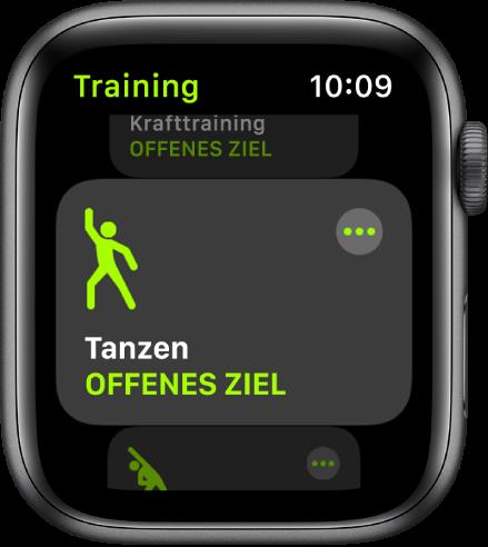 """Die Anzeige """"Training"""" mit hervorgehobenem Training """"Tanzen""""."""
