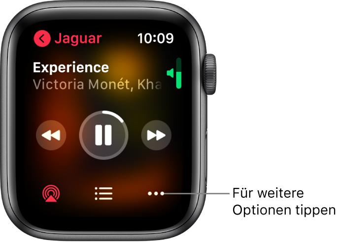 """Die Anzeige """"Jetzt läuft"""" in der App """"Musik"""". Der Albumname befindet sich oben links. Der Songtitel und der Künstlername befinden sich oben, die Bedienelemente für die Wiedergabe in der Mitte und die Tasten """"AirPlay"""", """"Titelliste"""" und """"Optionen"""" befinden sich unten."""
