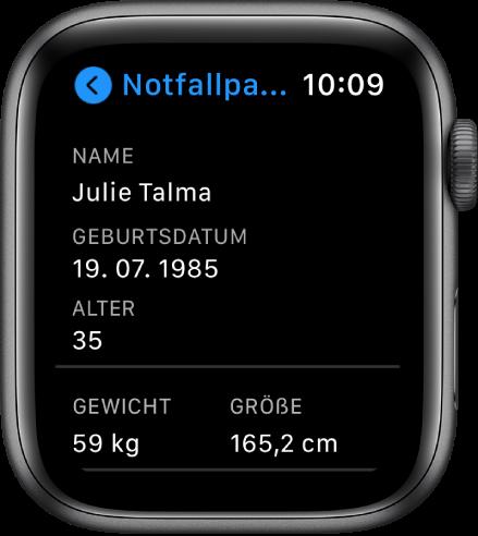 """Die Anzeige """"Notfallpass"""" mit Benutzernamen, Geburtsdatum, Alter, Gewicht und Größe des Benutzers."""